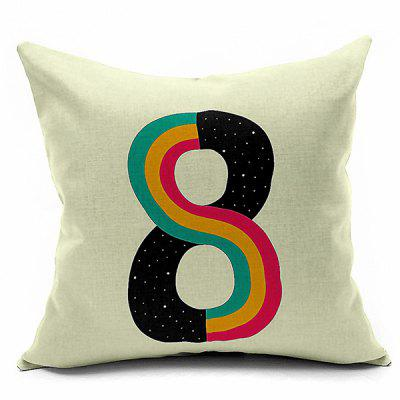Decorative Number 8 Printed Sofa Cushion Pillow Case