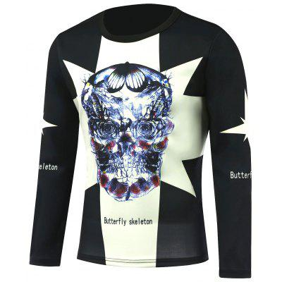 Buy DEEP GRAY Butterfly Long Sleeve Skull T-Shirt for $22.35 in GearBest store