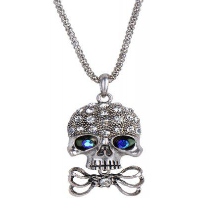 Buy SILVER Carved Rhinestone Bowknot Skull Necklace for $2.88 in GearBest store