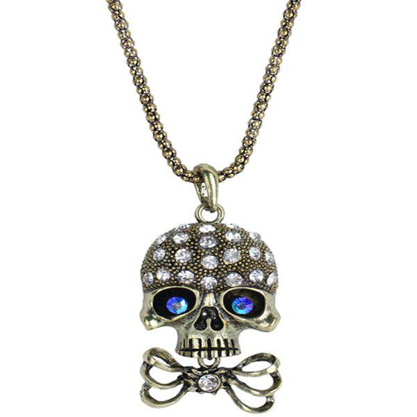 GOLDEN Carved Rhinestone Bowknot Skull Necklace