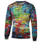 Crew Neck Long Sleeve Brick Wall Print Graphic Sweatshirts - COLORMIX