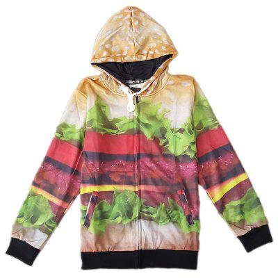 Modish Fitted Hooded 3D Hamburger Patterned Hoodies Long Sleeve Cotton Blend For Men