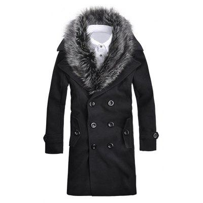 Fur Collar Button-tab Cuffs Wool Peacoat