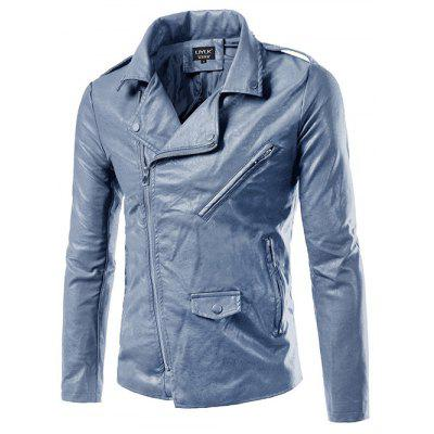 Turn-Down Collar Epaulet Design Zip-Up PU-Leather Jacket