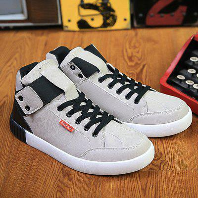 Lace Up Color Block Elastic Band Casual Shoes