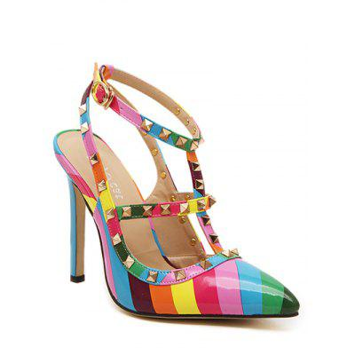 Colour Block Striped Pattern Rivets Pumps