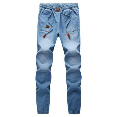 Patch Embellished Elastic Cuffs Denim Jogger Pants