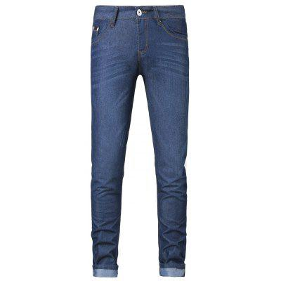 Buy DEEP BLUE Plus Size Zipper Fly Spliced Design Slimming Narrow Feet Jeans for $33.73 in GearBest store