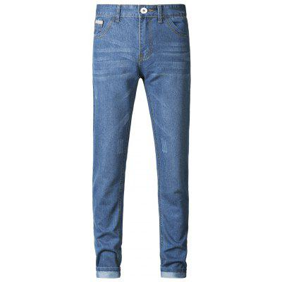 Buy LIGHT BLUE Plus Size Zipper Fly Spliced Design Slimming Narrow Feet Jeans for $33.73 in GearBest store