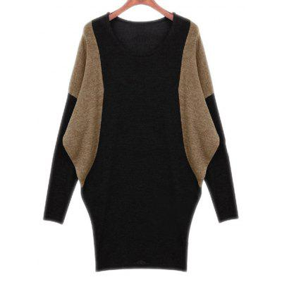 Batwing Sleeve Contrast Color Spliced Dress