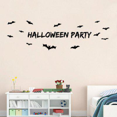 Halloween Party Letter Bat Design Living Room Wall Sticker