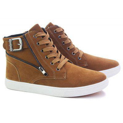 Buy BROWN High Top Zipper Casual Shoes for $30.09 in GearBest store