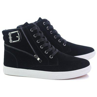 Buy BLACK High Top Zipper Casual Shoes for $30.09 in GearBest store