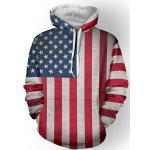 Star Stripe Pattern Long Sleeve Pullover Hoodie
