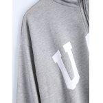 Loose Letter and Flag Applique Zipper Sweatshirt for sale