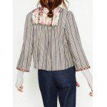 Round Neck Striped Embroidered Jacket - STRIPE