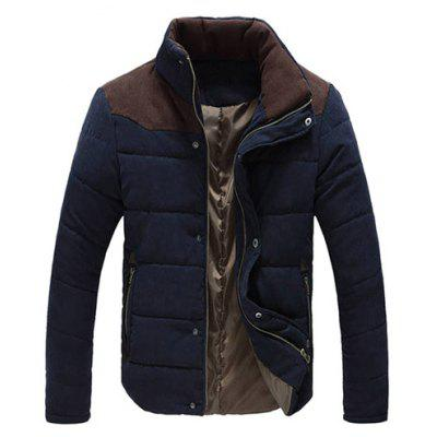 Buy PURPLISH BLUE Color Block Zipper Snap Button Stand Collar Padded Coat For Men for $30.64 in GearBest store
