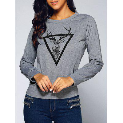 Round Neck Deer Print Sweatshirt