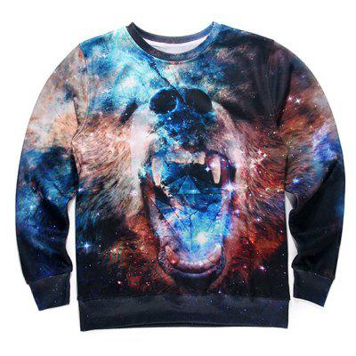 Round Neck 3D Starry Sky Beer Print Long Sleeve Fleece Sweatshirt