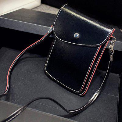 Stitch Leather Flap Crossbody Bag