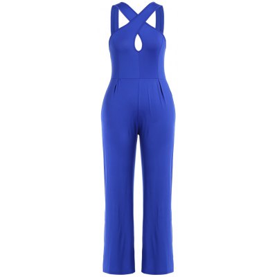 Criss Cross Hollow Out Wide Leg Jumpsuit
