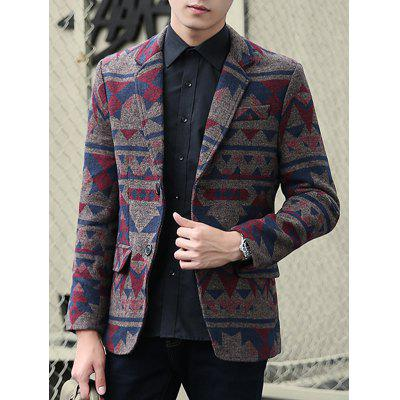 Plus Size Lapel Single-Breasted Vintage Geometric Printed Blazer