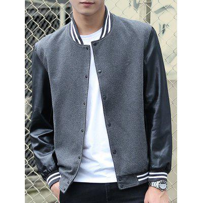 Stand Collar Stripe Rib PU-Leather Spliced Design Jacket