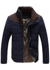 Color Block Zipper Snap Button Stand Collar Padded Coat For Men