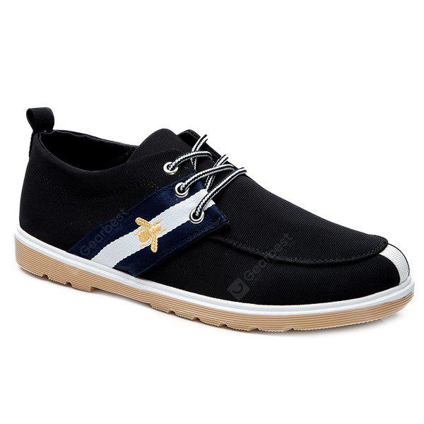 Lace-Up Striped Padrão Color Splicing Canvas Shoes
