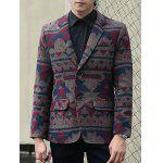 cheap Plus Size Lapel Single-Breasted Vintage Geometric Printed Blazer