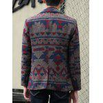 Plus Size Lapel Single-Breasted Vintage Geometric Printed Blazer for sale
