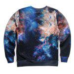 cheap Round Neck 3D Starry Sky Beer Print Long Sleeve Fleece Sweatshirt