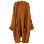 Long Chunky Cardigan with Pocket - GINGER