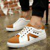Eyelets Color Block Lace-Up Casual Shoes - MARROM CLARO