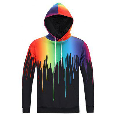 New Look Paint Splash Print Long Sleeve Hoodie For Men