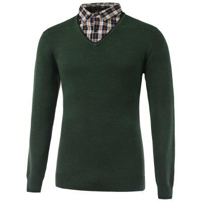 Plaid Long Sleeve Rib Cuff Pullover Knitwear