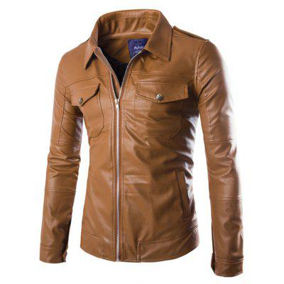 Turn-Down Collar Pockets Design Zip-Up PU-Leather Jacket