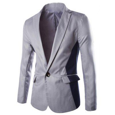 Vertical Stripe Lapel One Button Color Block Spliced Design Blazer