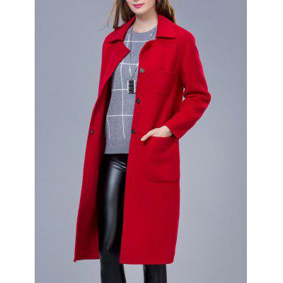 Double Pocket Long Wool Blend Coat