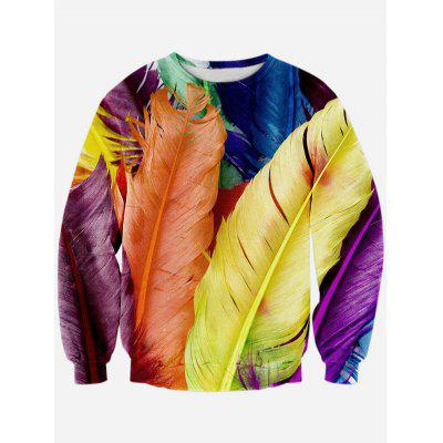Colorful Feather 3D Print Long Sleeve Crew Neck Sweatshirt