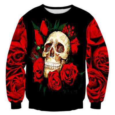 Rose Skull 3D Print Long Sleeve Crew Neck Sweatshirt