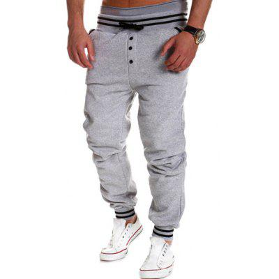 Buy GRAY Varsity Striped Buttoned Drawstring Jogger Pants for $15.10 in GearBest store