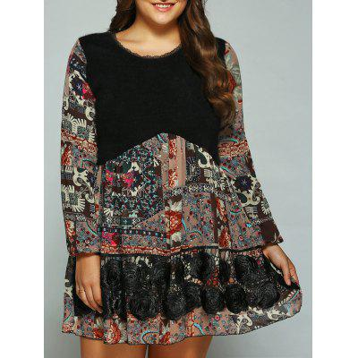 Plus Size Printed Splicing Mini Dress