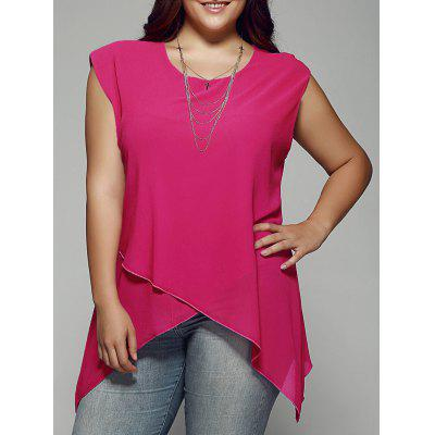 Buy WATERMELON RED Plus Size Asymmetrical Chiffon Blouse for $16.71 in GearBest store