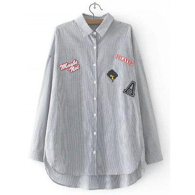 Buy BLACK Striped Letter Applique Asymmetric Shirt for $22.82 in GearBest store