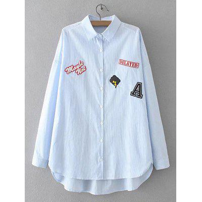 Buy LIGHT BLUE Striped Letter Applique Asymmetric Shirt for $22.82 in GearBest store