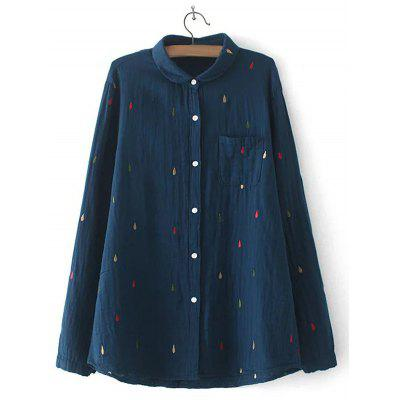 Water Drop Embroidered Pocket Design Shirt