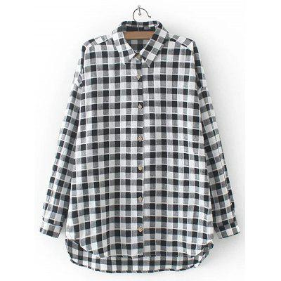 Asymmetric Buttoned Plaid Shirt