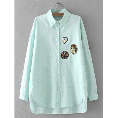 Buy LIGHT GREEN Applique Embroidered Asymmetric Shirt for $22.82 in GearBest store