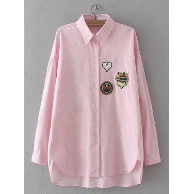 Buy SHALLOW PINK Applique Embroidered Asymmetric Shirt for $22.82 in GearBest store